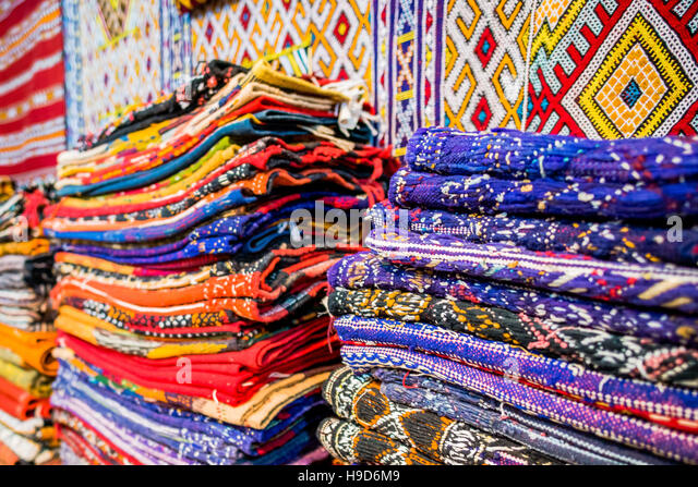 Textile souk marrakesh morocco stock photos textile souk for Colorful rugs for sale