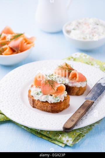 Smoked salmon baguette stock photos smoked salmon for Smoked salmon cream cheese canape
