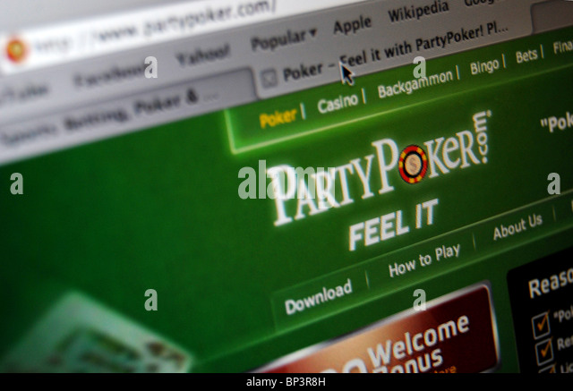 A photo illustration of PartyGaming Plc's PartyPoker website - Stock Image