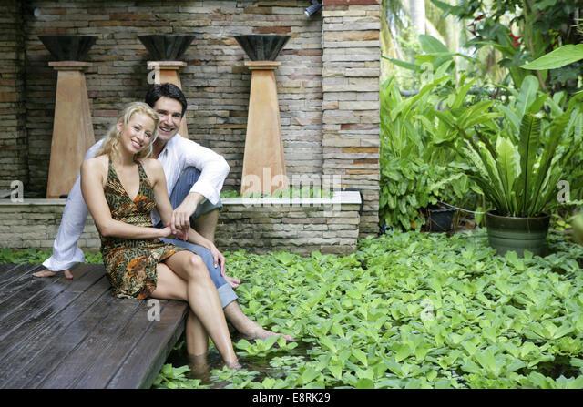 couple lovers park pond stock photos couple lovers park. Black Bedroom Furniture Sets. Home Design Ideas