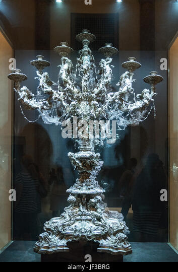 Palma de Majorca, Spain, An ancient silver candelabrum in the museum of the Cathedral - Stock Image
