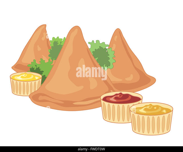 An Ilration Of Three Crispy Samosas With Parsley Garnish And Spicy Dips On A White Background