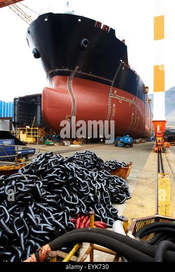 Goseong-gun South Korea  city pictures gallery : Ship in shipyard, GoSeong gun, South Korea Stock Image