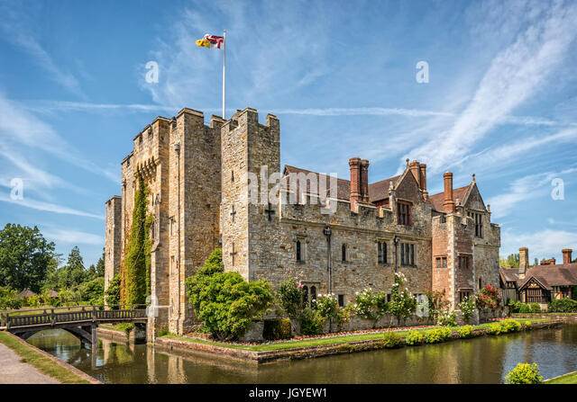 Hever, Kent, England - June 18, 2015. Hever castle as seen on 18 of June, 2015. The oldest part of the castle dates - Stock Image