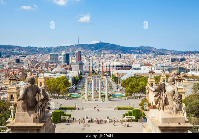 Skyline view over Barcelona from Montjuic, Barcelona, Catalonia (Catalunya), Spain, Europe - Stock Image