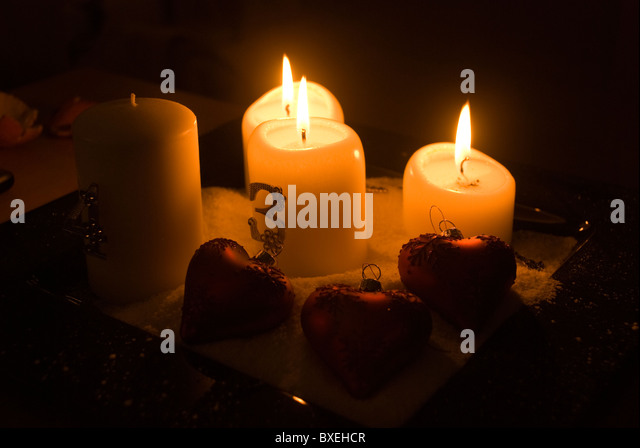 Advent candles in wreath stock photos advent candles in for Advent candle decoration