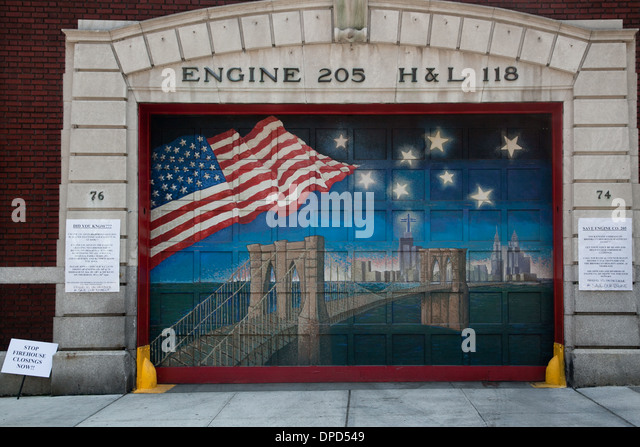 Patriotic Mural On The Engine 205 Fire Station In New York City   Stock  Image Part 52