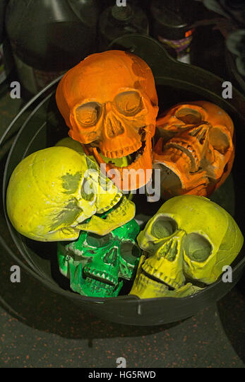 a pail full of sculls at the halloween adventure costume shop on broadway in greenwich village - Halloween Adventure New York