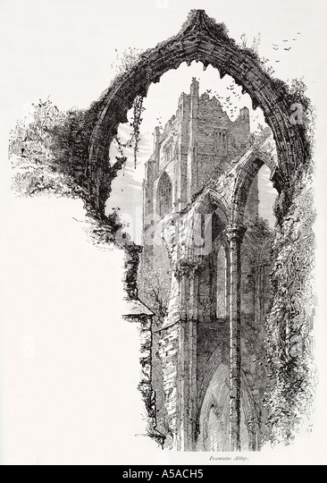 Fountains Abbey Studley Royal Ripon North York Yorkshire Cistercian Christian Ruin Arch Stone Carve Gothic Medieval
