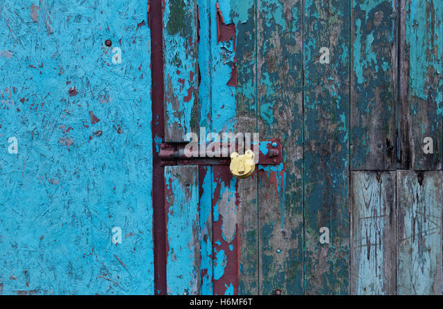 padlocked old door with colorful flaking paint - Stock Image & Padlocked Security Door Stock Photos \u0026 Padlocked Security Door ... Pezcame.Com