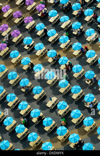 Colourful Parasols Shading Picnic Tables In The London Olympic Park
