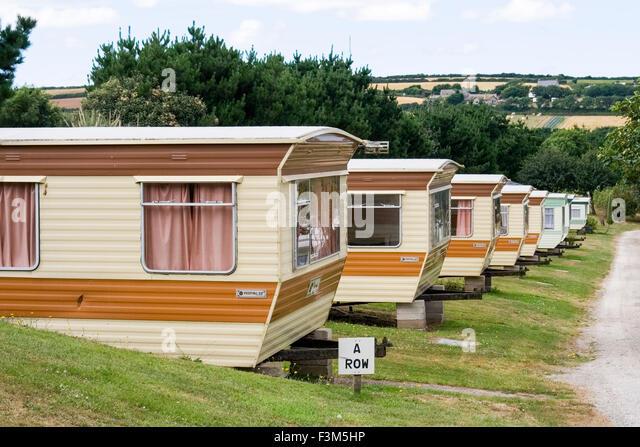 Caravan Park In Cornwall With Rows Of Stationary Caravans