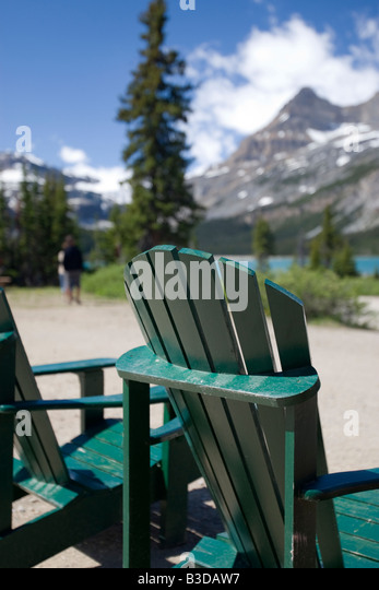 Attractive Lawn Chairs With A View Of The Rocky Mountains   Stock Image