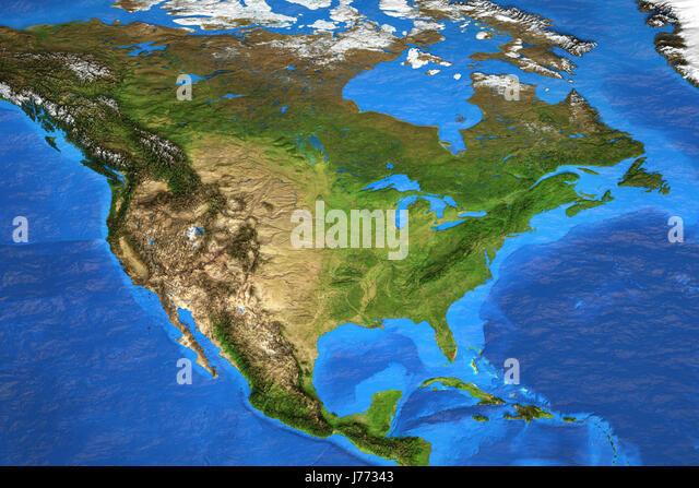 Map North America Satellite Stock Photos Map North America - North america satellite image