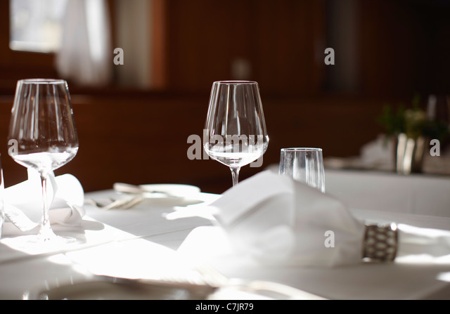Great Empty Wine Glasses On Table   Stock Image
