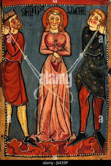 Anonymous. Catalonia. Panels with scenes of the Martyrdom of Saint Lucy, ca.1300. Detail depicting the immobility - Stock Image