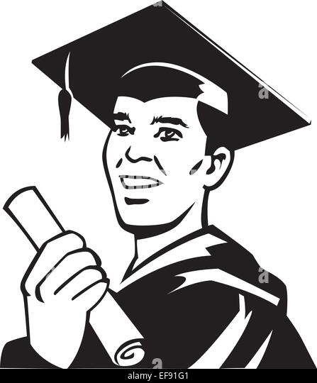 Cartoon Graduate Man Graduation Gown Stock Photos