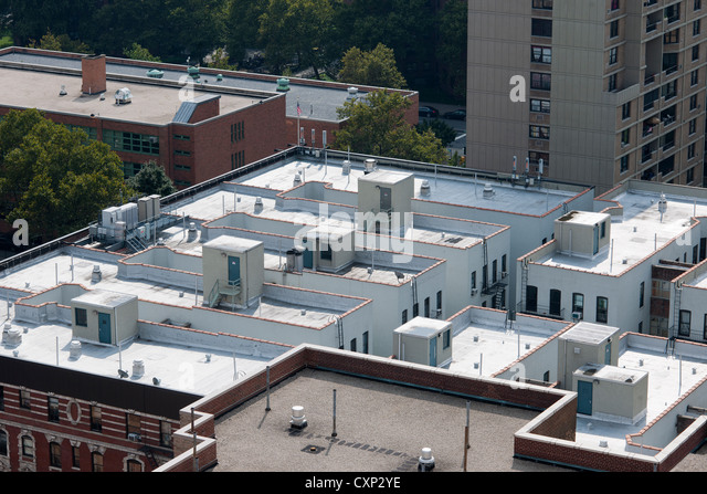 Cool Roofs On Apartment Buildings In The Harlem Neighborhood In New York    Stock Image