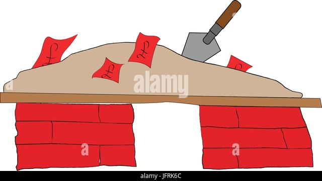 Pile Of Bricks And Mortar Containing Notes With GBP Symbols Metaphor For Put Your Money In