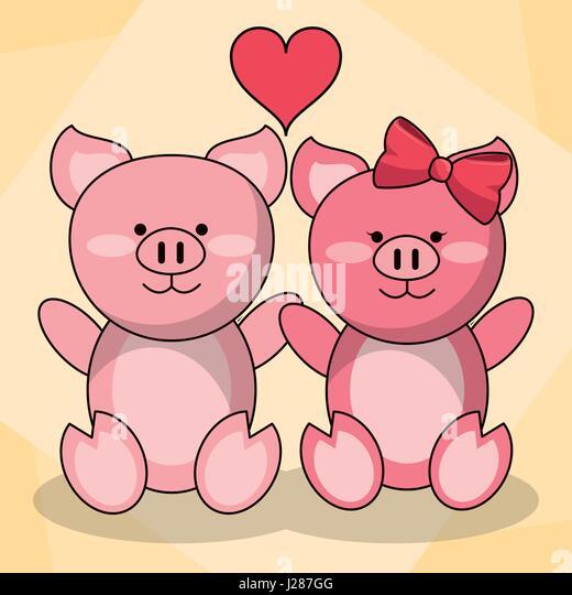 Loving Couple Pigs Animal Baby Heart Decoration