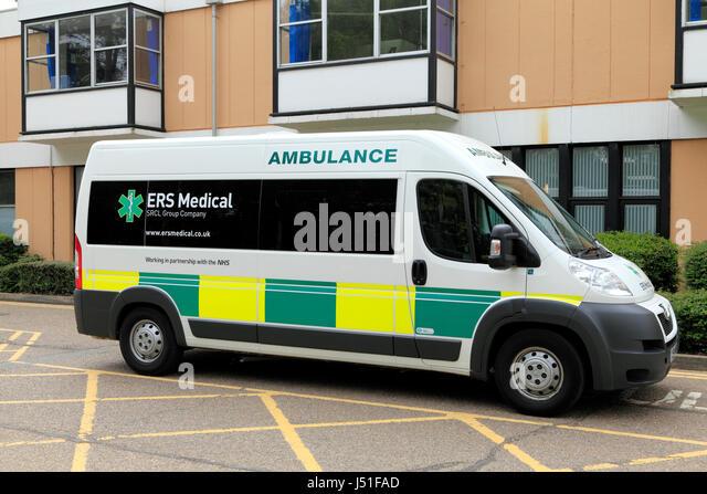 ERS Medical, Ambulance, Queen Elizabeth Hospital, Kings Lynn, Norfolk England UK, in partnership with NHS, ambulances, - Stock Image
