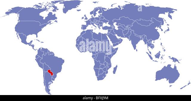 Global Map World Paraguay Stock Photos Global Map World Paraguay - Map of paraguay world