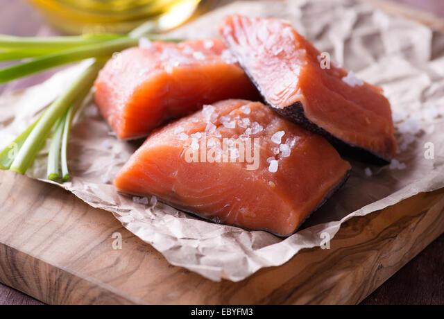 Siberian salmon stock photos siberian salmon stock for Red fish fillet