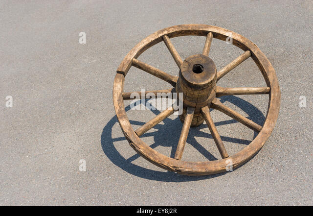 ancient wheel. ancient ukrainian wheel for peasant cart made from bent wood - stock image