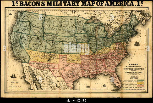 Bacon S Military Map Of The United States Showing The Forts Fortifications 1862 Stock