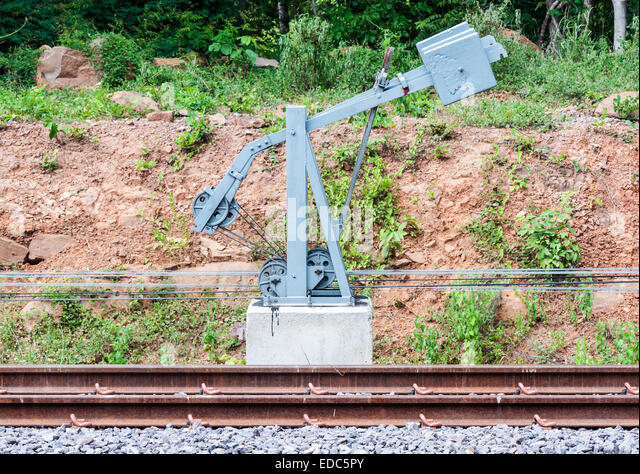 Train Control Lever : Level crossing train thailand stock photos