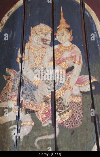 Cambodia, Phnom Penh, national museum, picture, representation, scenes of the Ramayana epic, - Stock Image