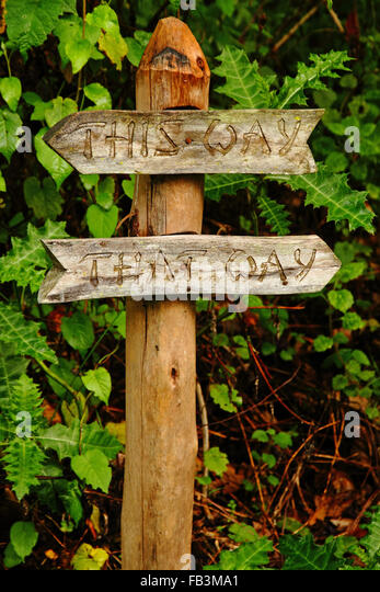 A Clever Garden Pathway Sign Telling You To Go Either U0027This Wayu0027 Or U0027