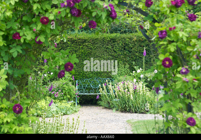 Superb English Rose Garden With Arch And Secluded Seat   Stock Image