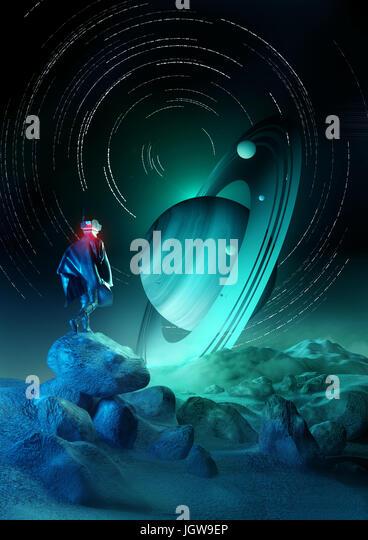 Wonder Exploration. A futuristic human exploring a strange planet system. 3D illustration. - Stock Image