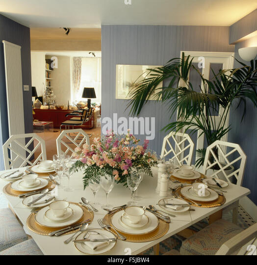Floral Arrangement On Dining Table Stock Photos & Floral ...