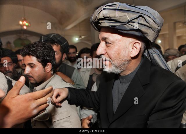 president hamid karzai visits tarin kowt in march 2010 uruzgan afghanistan stock image