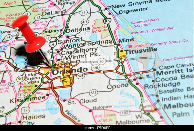 Orlando Map Stock Photos Orlando Map Stock Images Alamy - Orlando on the us map