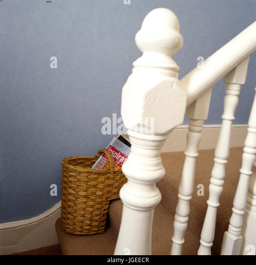 Excellent Stair Basket With Magazines Waiting To Go Upstairs Stock Image  With Stairway Basket