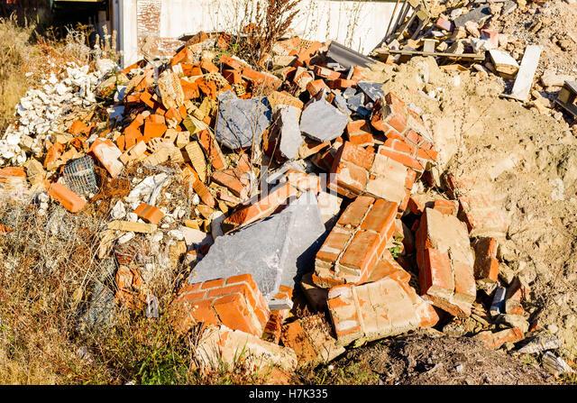 Pile Of Building Debris : Pile of concrete bricks stock photos