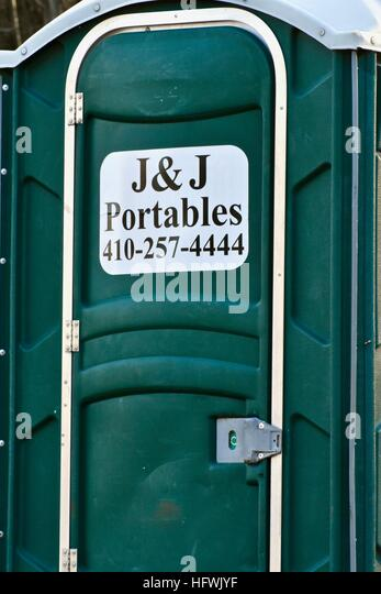 Beautiful Ju0026J Portables At A Construction Site   Stock Image