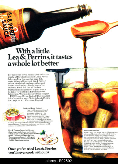 1970s Magazine Adver For Lea Perrins Worcestershire Sauce 1973 For Editorial Use Only Stock