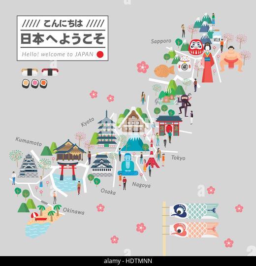 Attractive Japan Travel Map Design Stock Photos Attractive Japan - Japan map hd