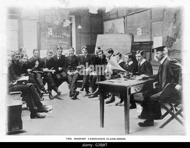 Modern Language Classroom ~ Gramophone boys stock photos