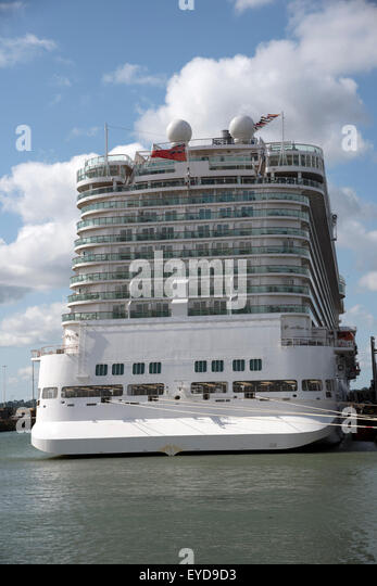 Britannia Cruise Ship Alongside Ocean Stock Photos