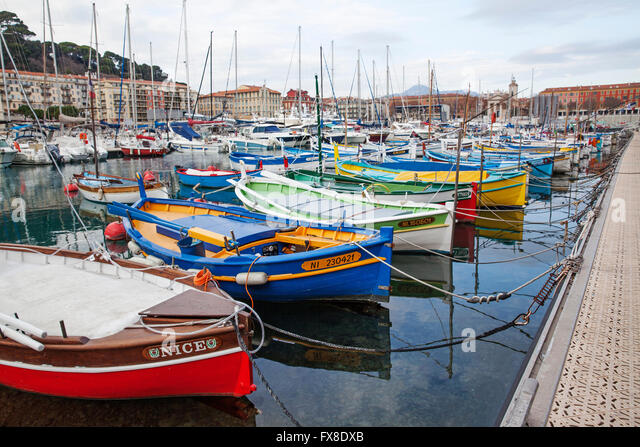 France nice harbour stock photos france nice harbour for Nice fishing boats