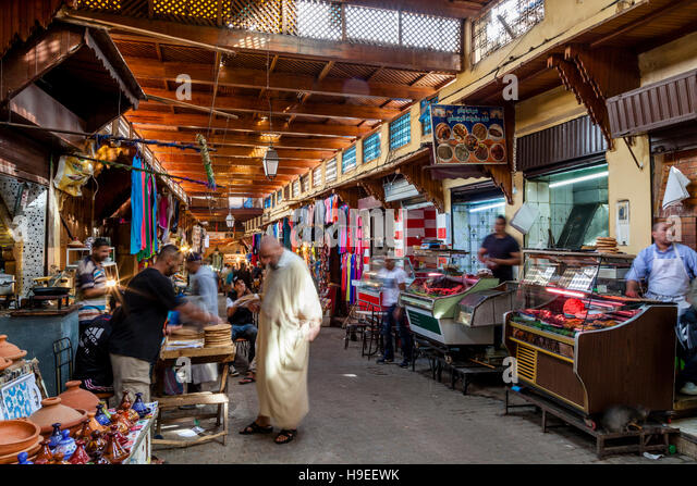 shops in the medina fez el bali fez morocco stock image