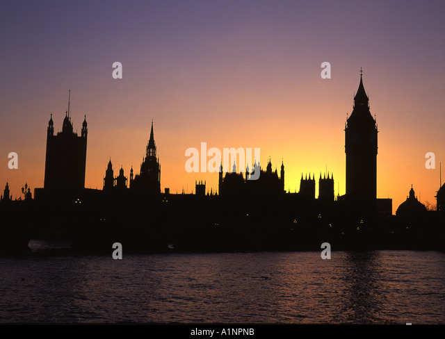 Houses Of Parliament Silhouette At Sunset From Across Thames Westminster London England UK