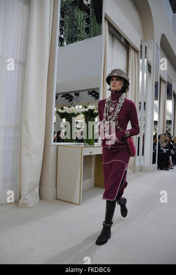 model wears a creation by karl lagerfeld for chanel as