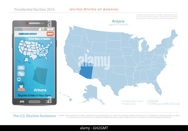 United States Of America Maps And Arizona State Territory Vector Usa Political Map Us