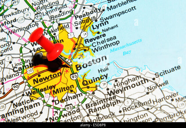 Boston Marked On The Map Of The Usa Stock Photos Boston Marked - Us map boston